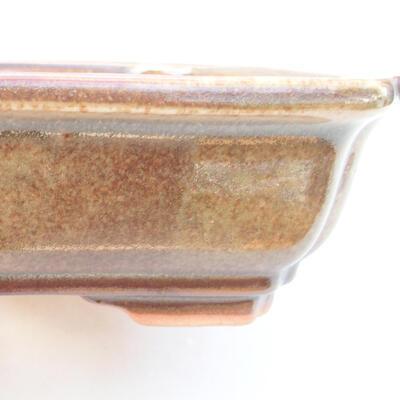 Ceramiczna miska bonsai 17 x 13,5 x 4,5 cm, kolor brązowy - 2