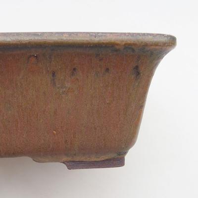 Ceramiczne bonsai miska 21,5 x 18 x 7 cm, kolor brązowy - 2