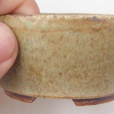 Ceramiczne bonsai miska 8 7 x 4 cm, kolor brązowy, zielony - 2