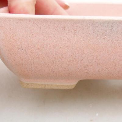 Ceramiczna miska bonsai 13,5 x 10,5 x 3,5 cm, kolor różowy - 2