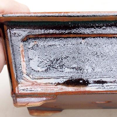 Ceramiczna miska bonsai 13 x 10 x 5 cm, kolor czarno-brązowy - 2