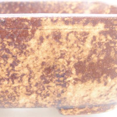 Ceramiczna miska bonsai 13 x 10 x 5,5 cm, kolor brązowo-żółty - 2