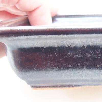 Ceramiczna miska bonsai 17 x 12,5 x 3,5 cm, kolor metalowy - 2