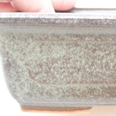 Ceramiczna miska bonsai 16,5 x 11 x 5 cm, kolor brązowo-zielony - 2