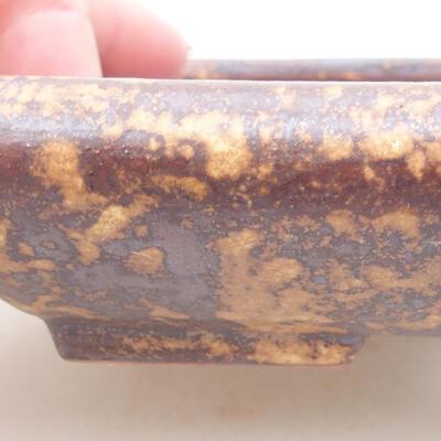 Ceramiczna miska bonsai 16 x 12,5 x 3 cm, kolor brązowo-żółty - 2