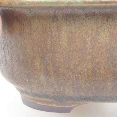 Ceramiczna miska bonsai 14 x 11 x 5 cm, kolor brązowo-zielony - 2