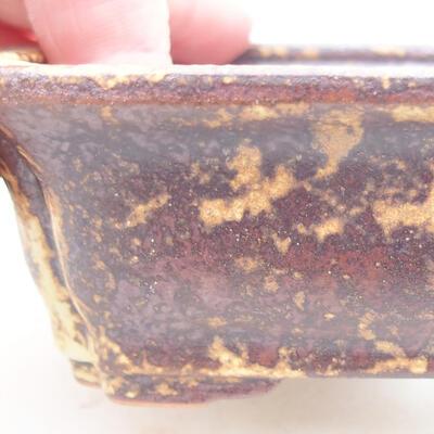 Ceramiczna miska bonsai 12 x 9,5 x 4 cm, kolor brązowo-żółty - 2