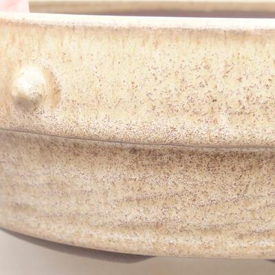 Ceramiczna miska bonsai 18 x 18 x 5,5 cm, kolor beżowy - 2