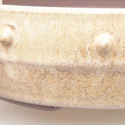 Ceramiczna miska bonsai 21,5 x 21,5 x 5,5 cm, kolor beżowy - 2