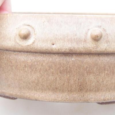 Ceramiczna miska bonsai 19 x 19 x 5,5 cm, kolor beżowy - 2