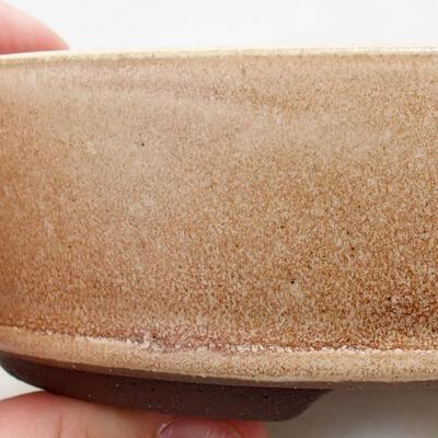 Ceramiczna miska bonsai 14,5 x 14,5 x 4,5 cm, kolor beżowy - 2