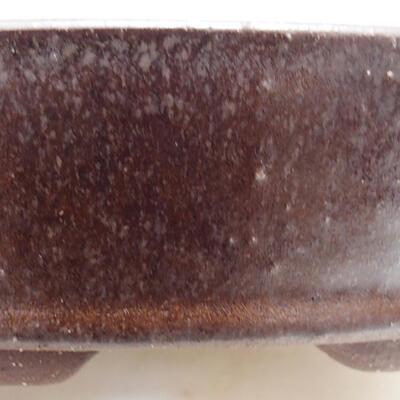 Ceramiczna miska bonsai 16,5 x 16,5 x 4 cm, kolor brązowy - 2