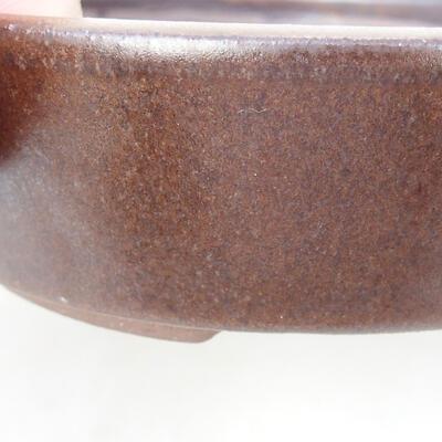 Ceramiczna miska bonsai 14,5 x 14,5 x 4,5 cm, kolor brązowy - 2