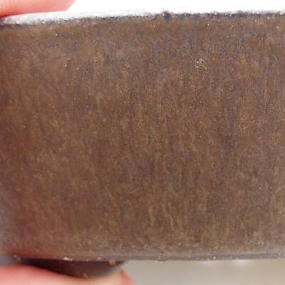 Ceramiczna miska bonsai 16,5 x 16,5 x 3,5 cm, kolor brązowy - 2