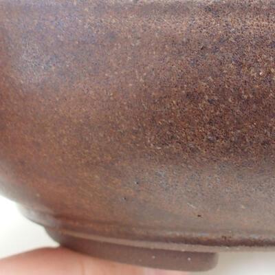 Ceramiczna miska bonsai 15,5 x 15,5 x 4,5 cm, kolor brązowy - 2