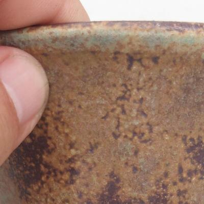 Ceramiczna miska bonsai 11 x 11 x 7 cm, kolor brązowo-zielony - 2
