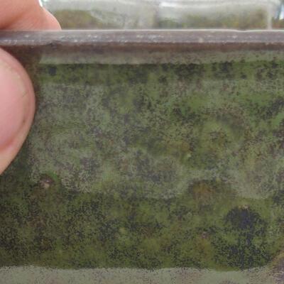 Ceramiczna miska bonsai 10 x 10 x 6 cm, kolor szaro-zielony - 2