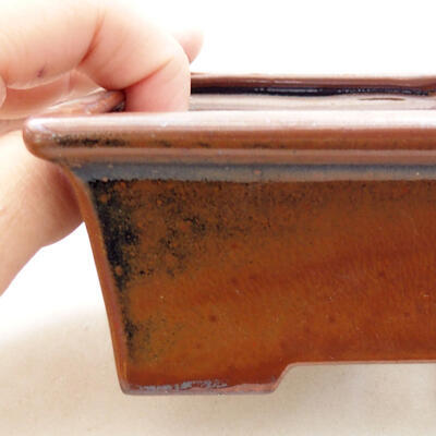 Ceramiczna miska bonsai 11 x 8,5 x 4,5 cm, kolor brązowy - 2