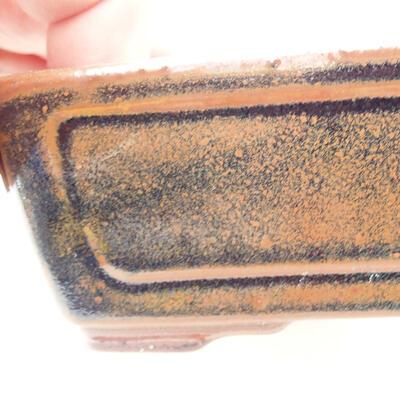 Ceramiczna miska bonsai 12,5 x 9 x 4,5 cm, kolor brązowo-czarny - 2