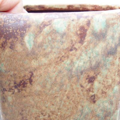 Ceramiczna miska bonsai 10 x 10 x 15,5 cm, kolor brązowo-zielony - 2