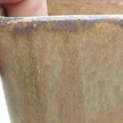 Ceramiczna miska bonsai 7 x 7 x 7 cm, kolor brązowo-zielony - 2