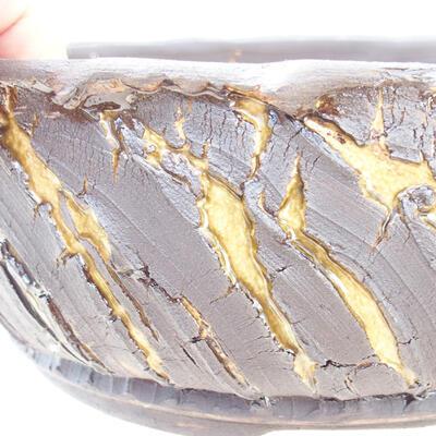 Ceramiczna miska bonsai 21 x 21 x 8 cm, kolor pęknięty żółty - 2