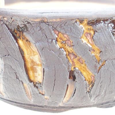 Ceramiczna miska bonsai 19 x 19 x 7 cm, kolor pęknięcia żółty - 2
