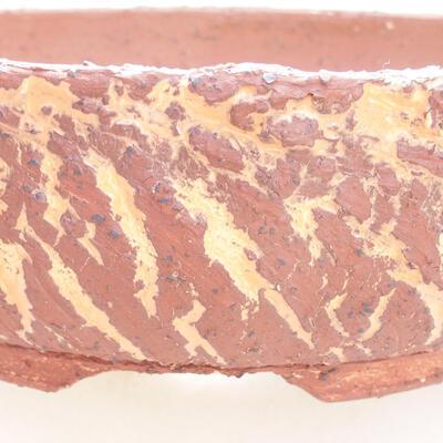 Ceramiczna miska bonsai 23,5 x 23,5 x 7 cm, kolor szaro-pomarańczowy - 2