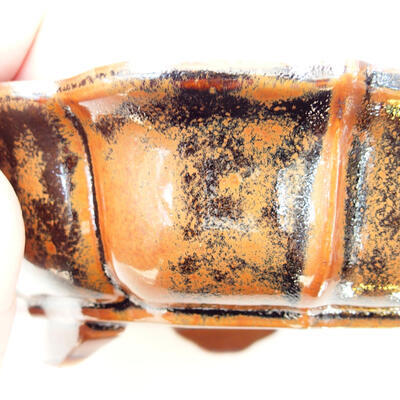 Ceramiczna miska bonsai 16 x 15,5 x 5 cm, kolor brązowo-czarny - 2