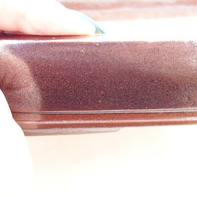 Ceramiczna miska bonsai 16,5 x 11,5 x 3,5 cm, kolor brązowy - 2