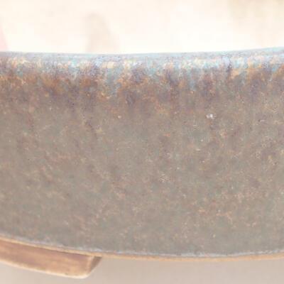 Ceramiczna miska bonsai 14 x 13 x 3,5 cm, kolor brązowo-zielony - 2
