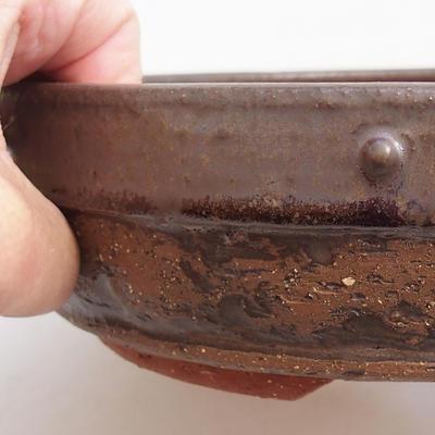 Ceramiczna miska bonsai 21 x 21 x 5,5 cm, kolor brązowy - 2