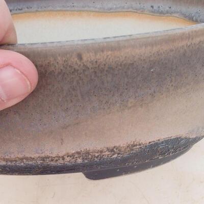 Miska Bonsai 22 x 16,5 x 6 cm, kolor szaro-beżowy - 2