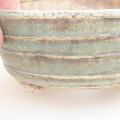 Ceramiczna miska bonsai 10,5 x 9 x 4,5 cm, kolor brązowo-zielony - 2
