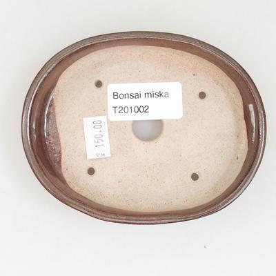 Ceramiczna miska bonsai 11 x 9 x 2,5 cm, kolor brązowy - 3