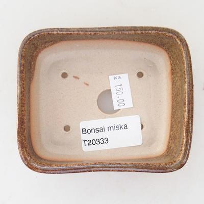 Ceramiczna miska bonsai 9,5 x 8 x 3,5 cm, kolor brązowo-zielony - 3