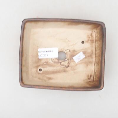 Ceramiczna miska bonsai 14,5 x 11,5 x 4,5 cm, kolor brązowy - 3
