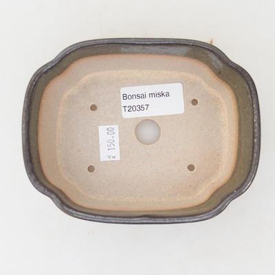 Ceramiczna miska bonsai 12,5 x 10 x 4,5 cm, kolor szaro-zielony - 3