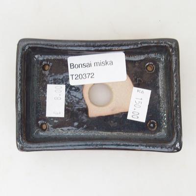 Ceramiczna miska bonsai 10 x 7 x 2 cm, kolor brązowo-niebieski - 3