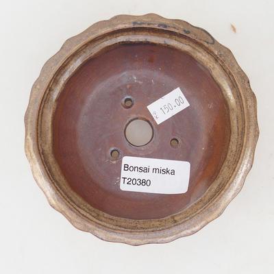 Ceramiczna miska bonsai 11,5 x 11,5 x 4,5 cm, kolor brązowo-beżowy - 3