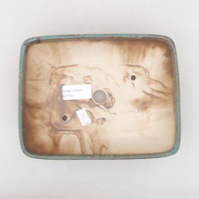 Ceramiczna miska bonsai 20 x 15,5 x 5 cm, kolor brązowo-zielony - 3