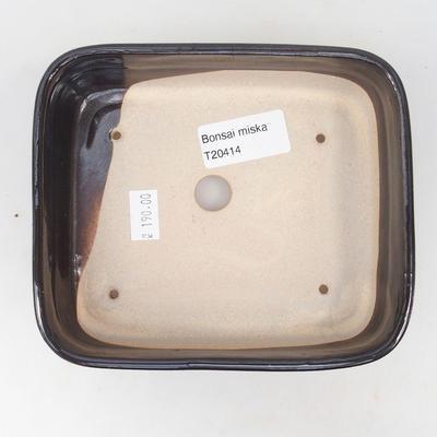 Ceramiczna miska bonsai 14 x 12 x 4,5 cm, kolor brązowo-niebieski - 3