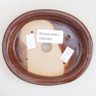 Ceramiczna miska bonsai 12 x 10 x 2,5 cm, kolor brązowy - 3