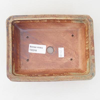 Ceramiczna miska bonsai 18 x 13,5 x 4 cm, kolor brązowo-zielony - 3