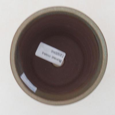 Ceramiczna miska bonsai 9,5 x 9,5 x 10 cm, kolor brązowo-zielony - 3