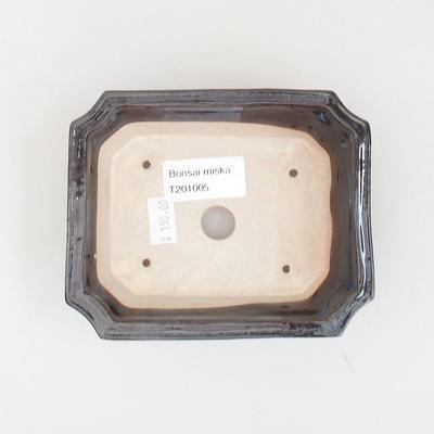 Ceramiczna miska bonsai 13 x 10,5 x 4 cm, kolor niebiesko-czarny - 3