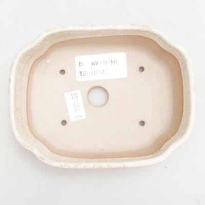 Ceramiczna miska bonsai 12 x 9,5 x 4 cm, kolor beżowy - 3