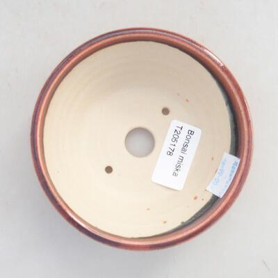 Ceramiczna miska bonsai 11 x 11 x 4,5 cm, kolor bordowy - 3