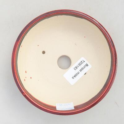 Ceramiczna miska bonsai 12 x 12 x 5 cm, kolor bordowy - 3