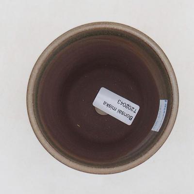 Ceramiczna miska bonsai 9,5 x 9,5 x 10,5 cm, kolor brązowo-zielony - 3